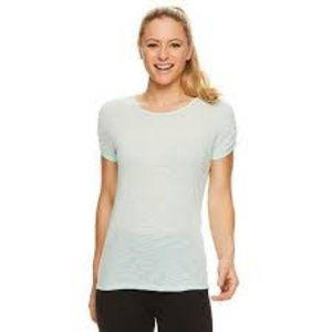 NEW GAIAM Ruched Sleeve Tee Light Blue Extra Large